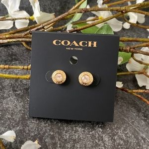 COACH Gold Open Circle Stone Stud Earrings